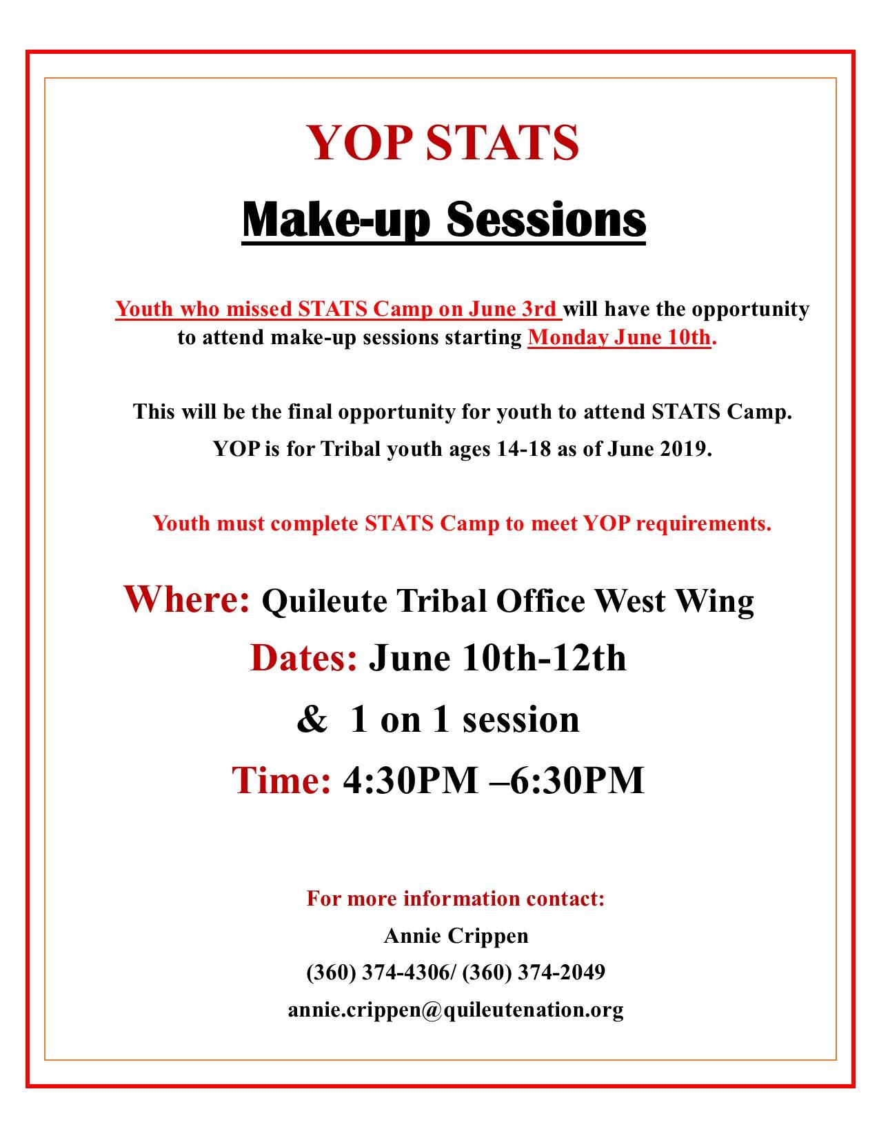 STATS Make-up Schedule